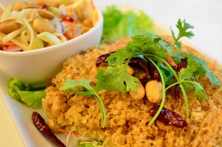 Yum Pla Duk Fu (Thai Crispy Fish with Green Mango Salad)
